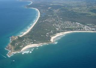 Aerial photo of Byron Bay