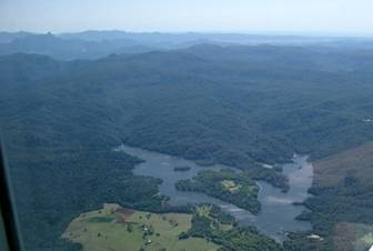 Aerial photo of Rocky Creek Dam and Mt Warning